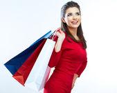 женщина удерживать сумка — Стоковое фото