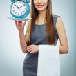 Portrait of business woman holding watch. — Stock Photo