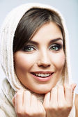 Woman shawl portrait — Stock Photo