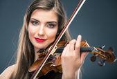 žena hraje housle — Stock fotografie