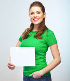Woman holding blank poster — Stock Photo