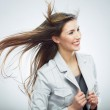 Business woman. Hair in motion. — Stock Photo