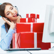Operator with gift box — Stock Photo #39788553