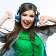 Woman with headphones listening music — Stok fotoğraf #39788831