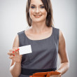Woman hold business card — Stock Photo #39789005