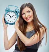 Business woman holding watch. — Stock Photo