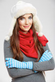 Winter style young woman portrait. — Stock Photo