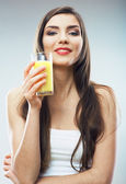 Woman hold juice — Stock Photo