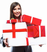 Happy Business woman hold gift box. White background isolated — Stock Photo