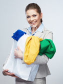 Woman hold shopping bag with clothes. — Stock Photo