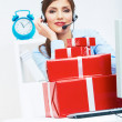 Operator with gift box — Stock Photo #40064021