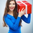 Woman hold gift box — Stock Photo #40064237