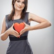 Business woman hold red heart. — Stock Photo #40065157