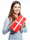 Happy woman hold gift box. — Stock Photo