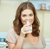 Woman with water glass — Stock Photo