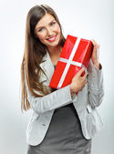 Business woman with gift. — Stock Photo