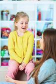 Mother daughter talk portrait. — ストック写真