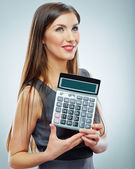 Woman holds calculator — Stock Photo