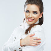 Portret van lachende vrouw — Stockfoto