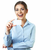 Smiling woman with credit card — Stock Photo