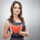 Business woman hold heart — Stock Photo