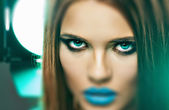 Woman with blue lips — Stock Photo