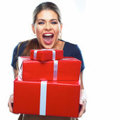Happy woman holds gift boxes — Stock Photo