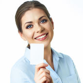 Business woman holds credit card — Stok fotoğraf