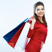 Woman holds shopping bags — Stock Photo