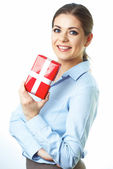 Business woman holds present — Stock Photo