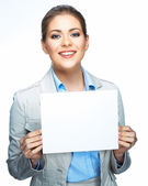 Business woman shows board — Stock Photo