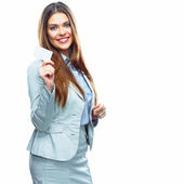 Business woman shows credit card — Stock Photo