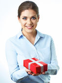 Woman with red gift — Stock Photo