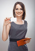 Woman holds credit card — Stock Photo
