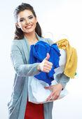 Frau mit einkaufstasche — Stockfoto