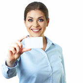 Business woman with card — Stock Photo
