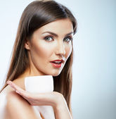 Woman with cream — Stock Photo