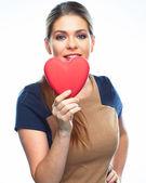 Woman holding heart — Stock fotografie