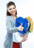 Woman shows thumb up — Stock Photo