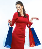 Woman holds bags — Stock Photo