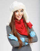 Casual winter style yong woman portrait. — Stock Photo