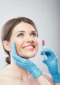 Chirurgie de visage beauté femme bouchent portrait. — Photo