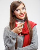 Young girl drink alcohol — Stock Photo