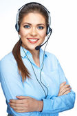 Call center smiling operator business portrait. — Stock Photo
