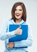 Student shows thumb up — Stock Photo