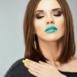 Woman with blue lips — Stock Photo #48310051