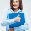 Business woman with folder — Stock Photo #48312159