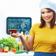 Woman chef in kitchen — Stockfoto #51152671