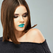 Woman with blue lips — Photo