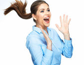 Screaming business woman — Stock Photo